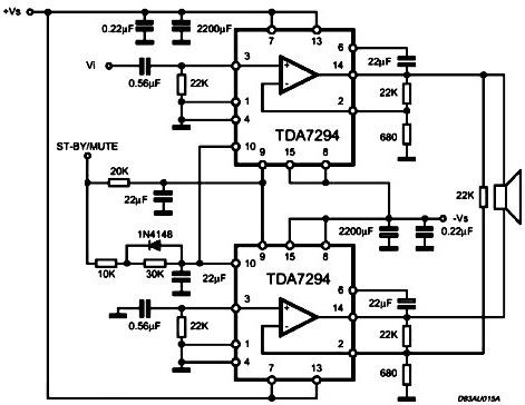 Мостовая схема включения TDA7293 или TDA7294, TDA7295 и TDA7296 так включать не рекомндуем - они слишком слабые