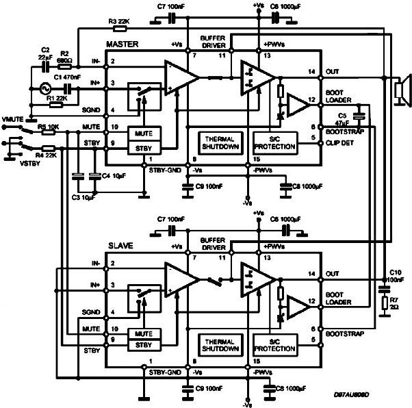 Параллельное включение TDA7293 - так включать можно только TDA7293.