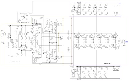 Принципиальная схема усилителя мощности до 1400 Вт класса G.