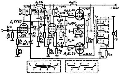 Принципиальная схема усилителя на 22 Вт Ф.Кюне