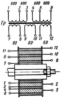 Схема и вариант намотки выходного трансформатора для лампового усилителя Н.Зыкова