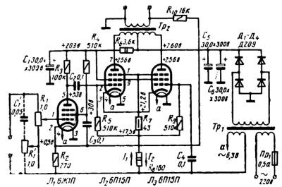 Принципиальная схема лампового усилителя мощности Г Крылова