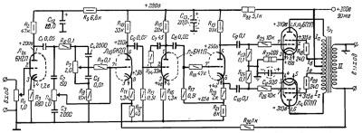 Принципиальная схема лампового усилителя А.Кузьменко